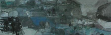 Jajce (diptych, z cyklu Místa), 130 x 300  cm, akryl na plátně