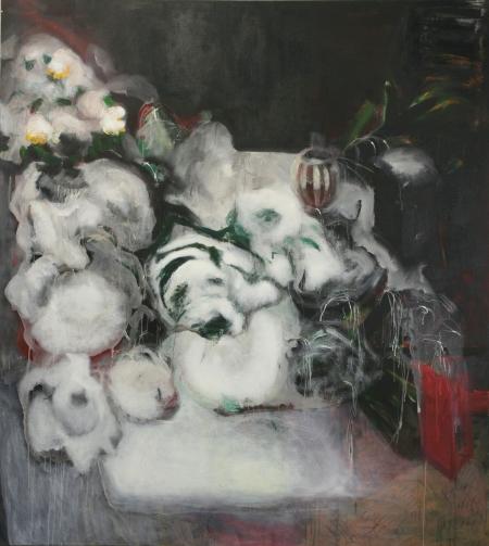 Hřbitovní kvítí X, 200 x 180  cm, akryl na plátně