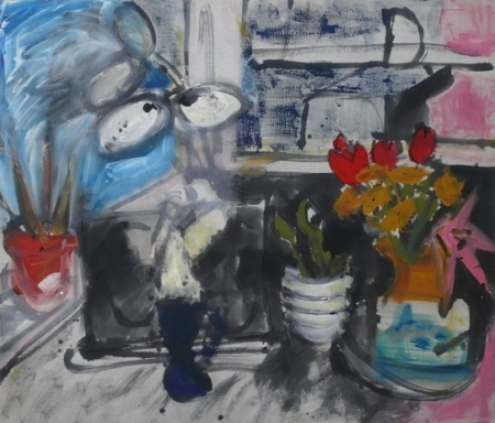 Stůl I, 110 x 130 cm, akryl na plátně, soukromá sbírka