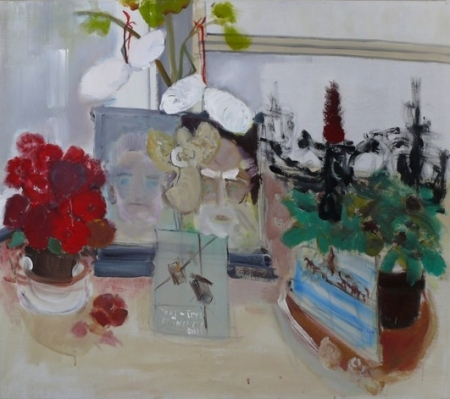 Stůl III, 110 x 130 cm, akryl na plátně, soukromá sbírka