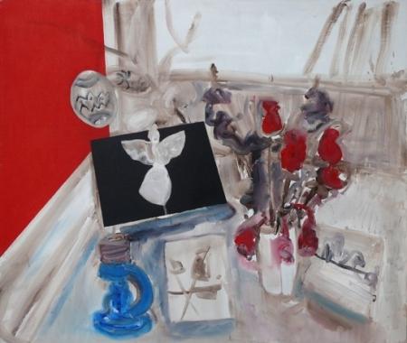 Stůl IV, 110 x 130 cm, akryl na plátně, soukromá sbírka