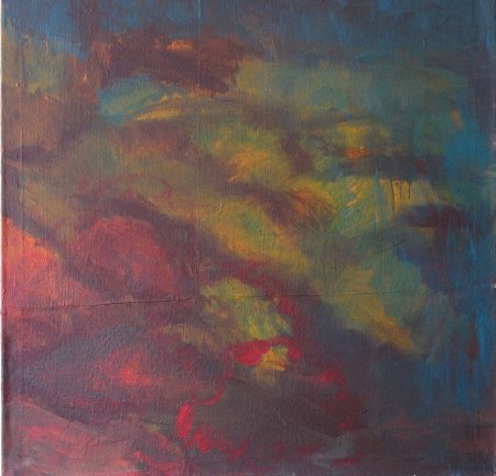 Doma na jihu I, 100 x 100 cm, kombinovaná technika na plátně