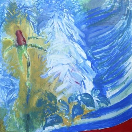Růžička, 100 x 100 cm, akryl na plátně, soukromá sbírka