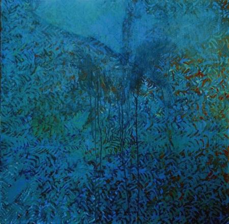 Zahrada, 80 x 80 cm, akryl na plátně