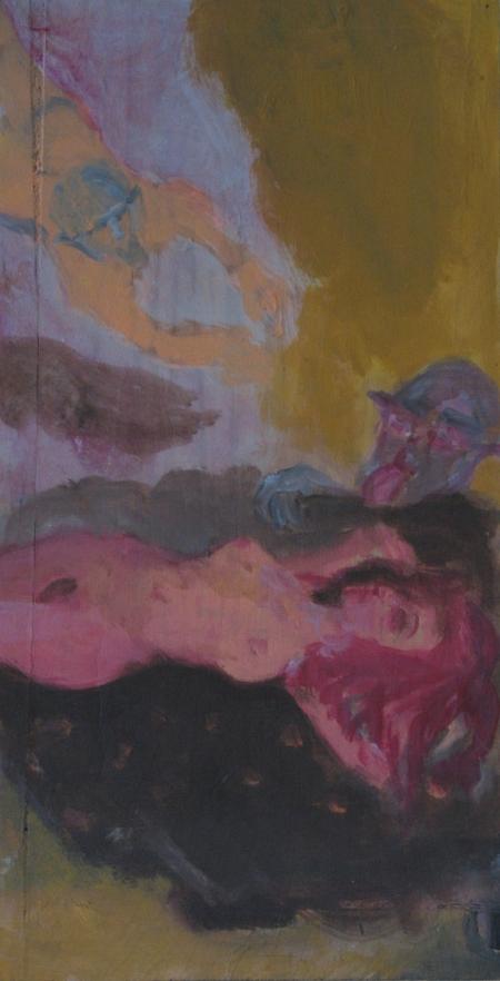 Scene of my hornyness I, 47 x 25 cm, acryl on wood