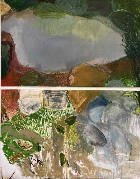 Území - detail triptychu, 200 x 160 cm, kombinovaná technika na plátně