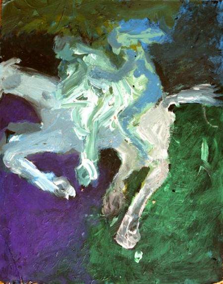 AsaSasa nebeští jezdci III, 30 x 20 cm, akryl na sololitu
