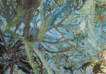 Smrk stříbrný, 140 x 200 cm, akryl na plátně