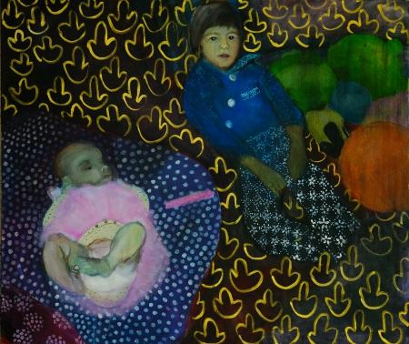Rodičovský příspěvek (se Šárkou Růžičkovou Zadákovou), 140 x 180 cm, akryl na plátně
