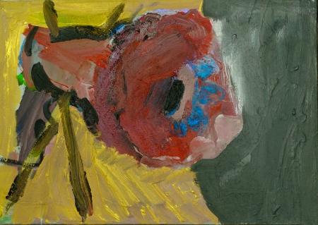 Pouťová růže, 60 x 90 cm, akryl na plátně