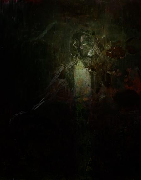 Z cyklu Zahrada - Autoportrét, 1998, 190 x 170 cm, kombinovaná technika na sololitu