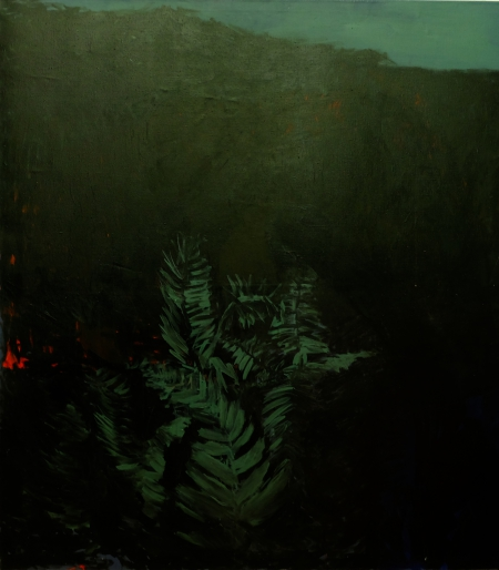 Z cyklu Zahrada - Autoportrét, 1998, 190 x 170 cm, kombinovaná technika na plátně