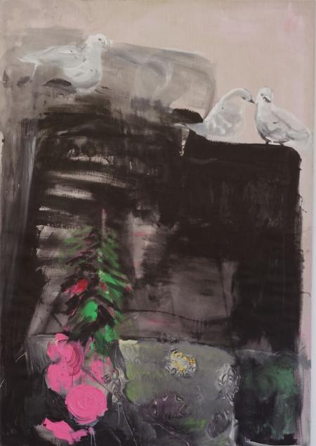 Holubičky I, 200 x 140 cm, akryl na plátně