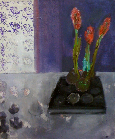 Hyacinty, 70 x 50 cm, akryl na plátně, soukromá sbírka