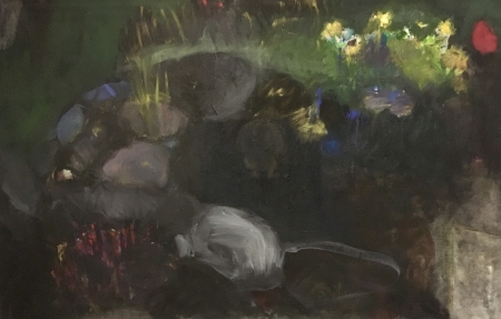 Jezírko IV, 105 x 165 cm, akryl na plátně