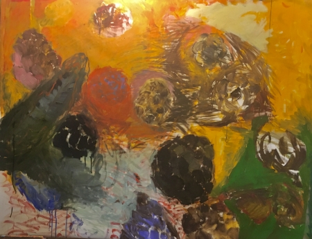 Šišky, 135 x 170 cm, kombinovaná technika na plátně