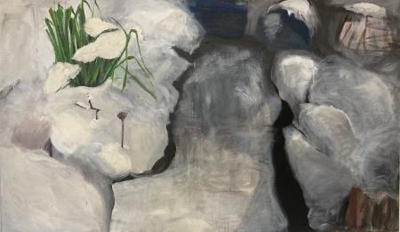 Jezírko VII, 95 x 170 cm, kombinovaná technika na plátně