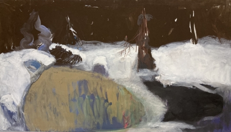 Jezírko VIII, 95 x 165 cm, akryl na plátně