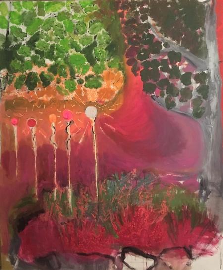 Vřes - Kozín , 200 x 170 cm, akryl na plátně