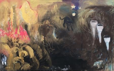 Políčko - Kozín III, 110 x 175 cm, akryl na plátně
