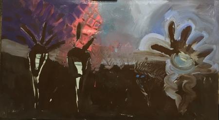 Políčko - Kozín II, 90 x 160 cm, akryl na plátně