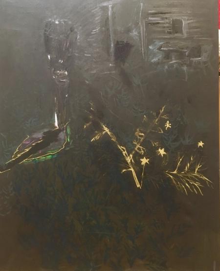Políčko - Kozín IV, 100 x 80 cm, akryl na plátně