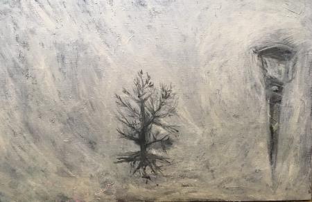Políčko - Kozín V, 68 x 105 cm, akryl na plátně