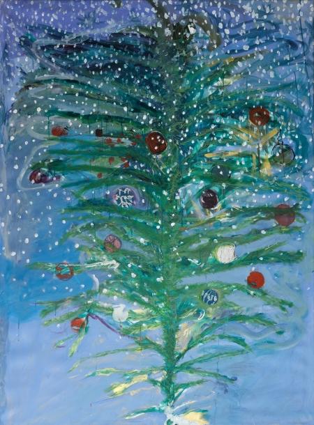 Vánoční kytice, 200 x 140 cm, akryl na plátně