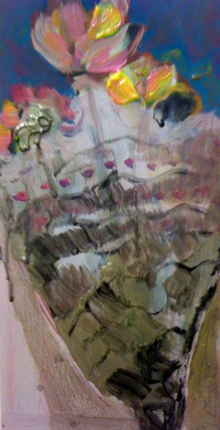 Kytka II, 25 x 18 cm, akryl na plátně, soukromá sbírka