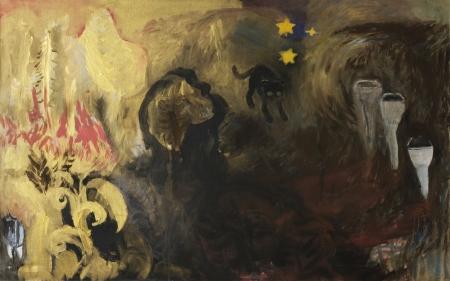 Kozín - políčko III, 110 x 175 cm, akryl na plátně