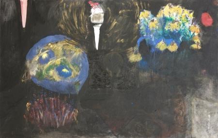 Políčko - Kozín III, 95 x 160 cm, akryl na plátně