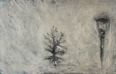 Kozín - ráno, 80 x 110 cm, akryl na plátně