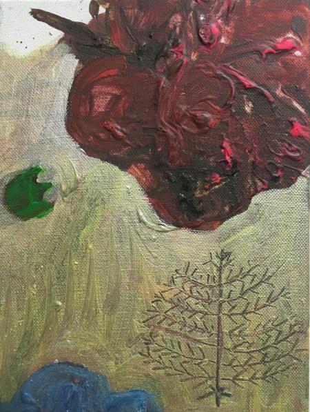 Políčko, 25 x 12 cm, akryl na plátně