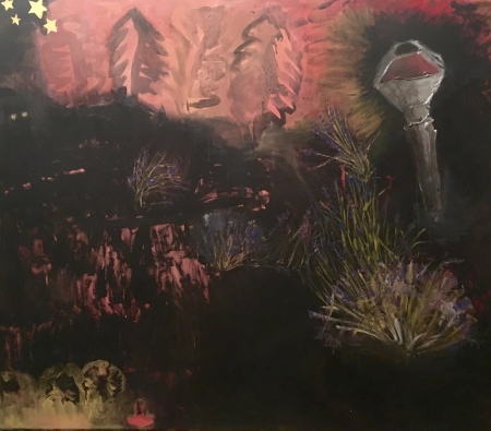 Políčko - Lampy , 140 x 175 cm, akryl na plátně