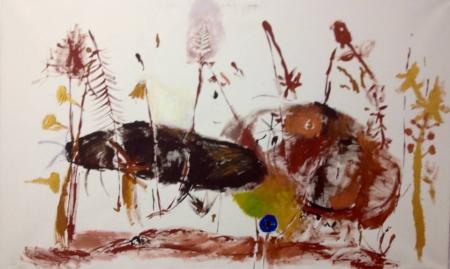 Políčko XIII, 95 x 160 cm, akryl na plátně, soukromá sbírka