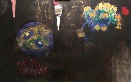 Políčko- Lampy II, 105 x 165 cm, akryl na plátně