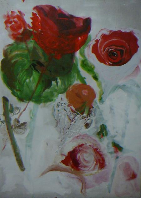 Pouťové růže III, 200 x 140 cm, akryl na plátně, soukromá sbírka
