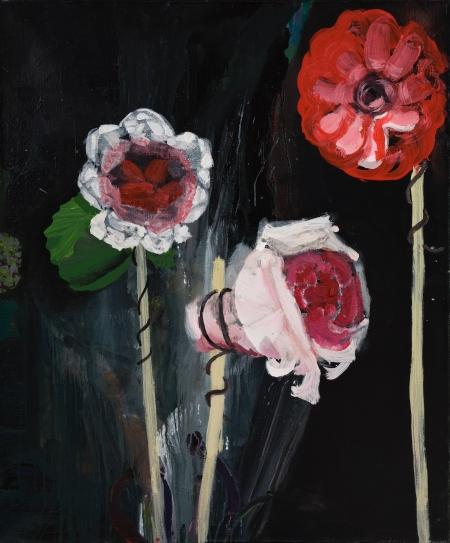 Pouťové růže, 130 x 115 cm, akryl na plátně