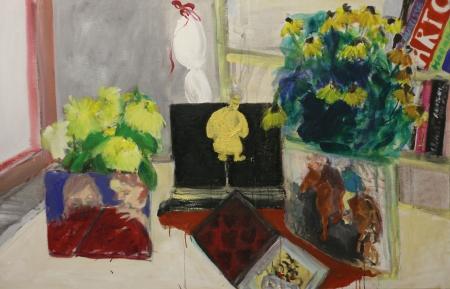 Stůl X, 105 x 165 cm, akryl na plátně