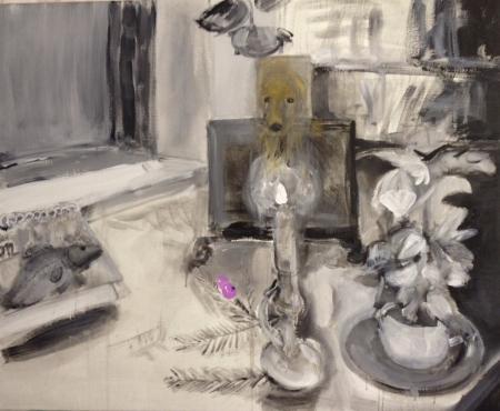 Stůl XII, 140 x 170 cm, akryl na plátně