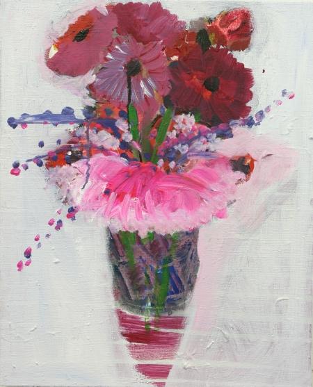 Umělé květy, 50 x 40  cm, akryl na plátně