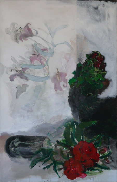 Hřbitovní kvítí I, 175 x 110 cm, akryl na plátně, Galerie Felixe Jeneweina v Kutné Hoře