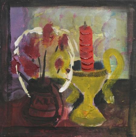 Kolumbárium III (Z cyklu Stále živé) , 40 x 40 cm, akryl na plátně